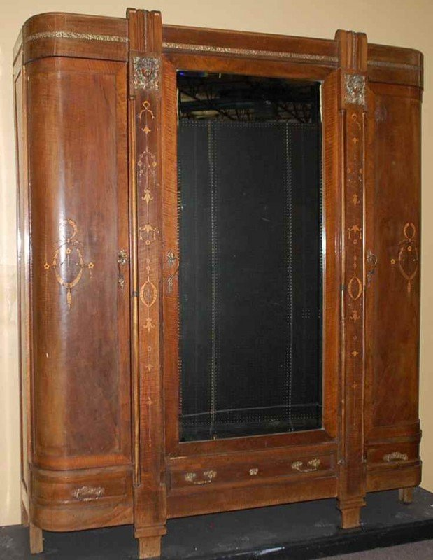 20: Italian Inlaid Bronze Mounted Armoire