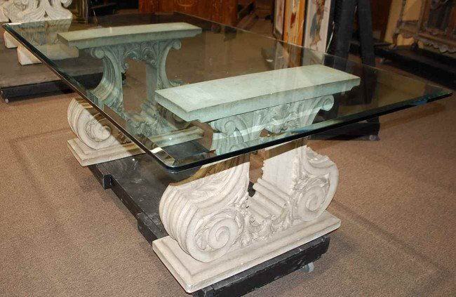 120: Cast Stone Base Glass Top Dining Table