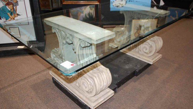 120: Cast Stone Base Glass Top Dining Table - 2