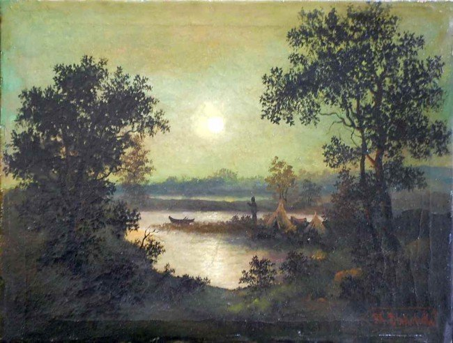 5: R. A. Blakelock Oil on Canvas Painting