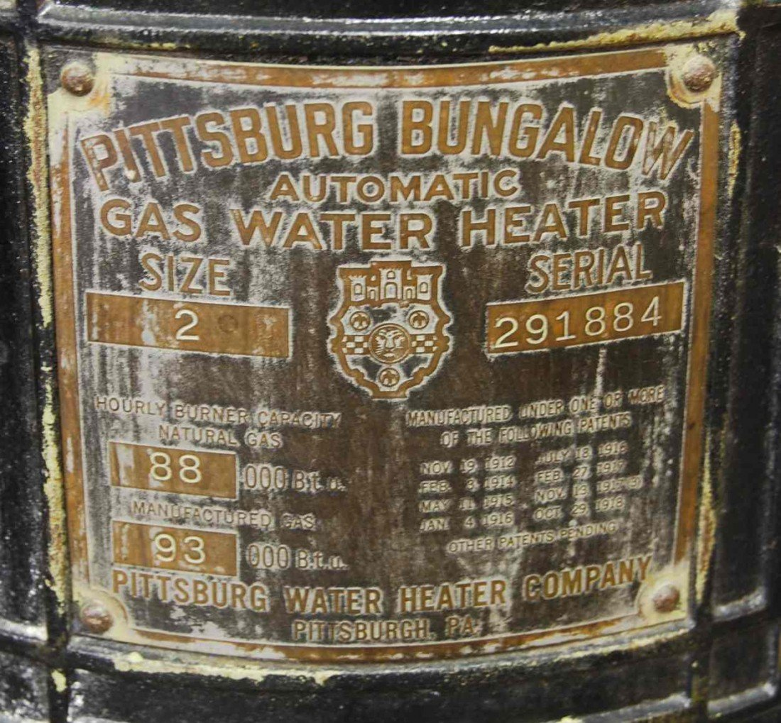 312: ANTIQUE PITTSBURG BUNGALOW GAS WATER HEATER - 2