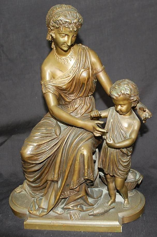 013: SUPERB BRONZE SEATED LADY AND CHILD