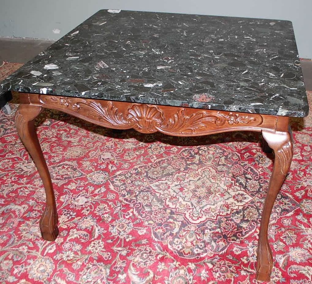 2: BLACK MARBLE TOP CARD TABLE