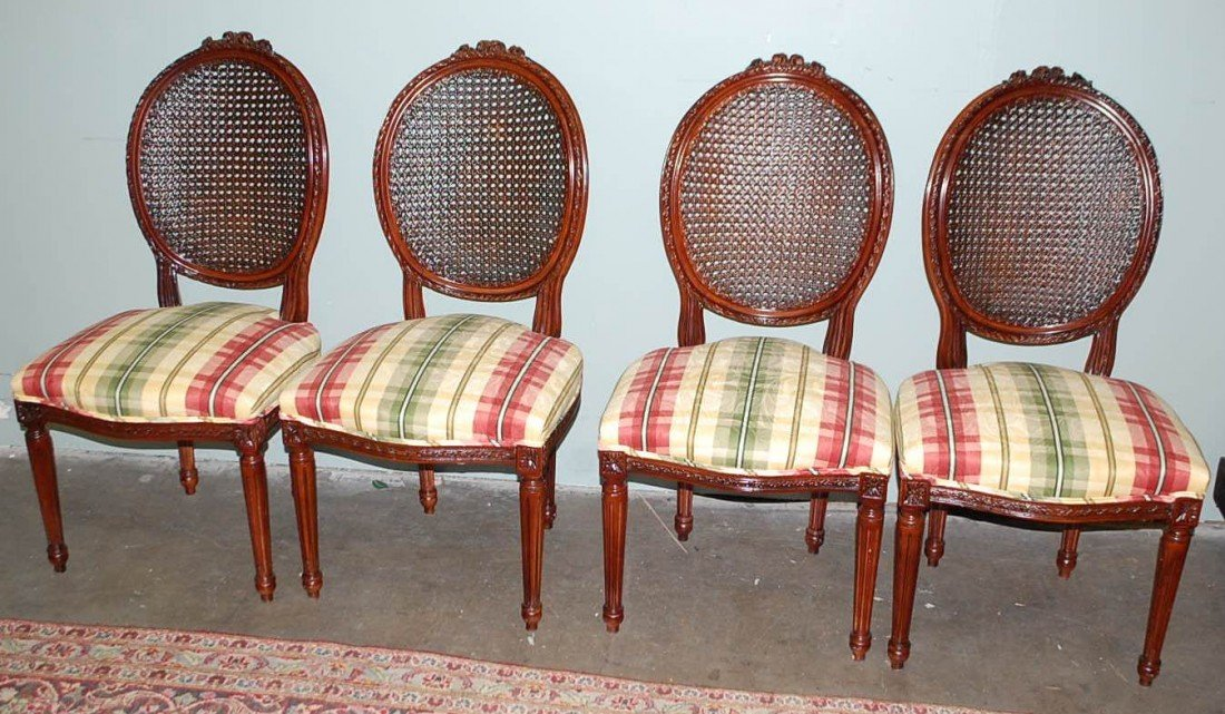 6: SET OF FOUR FRENCH STYLE DINING CHAIRS