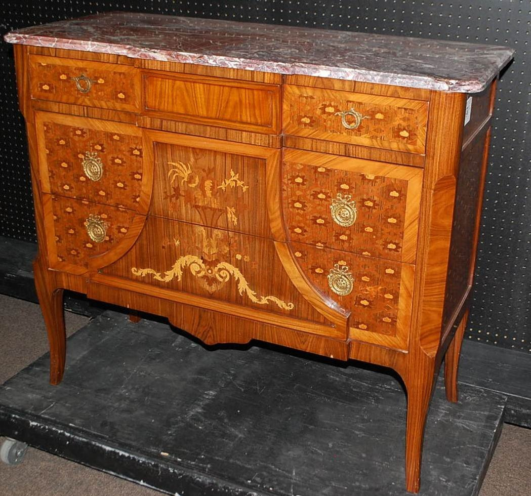 28: CUSTOM INLAID MARBLE TOP COMMODE