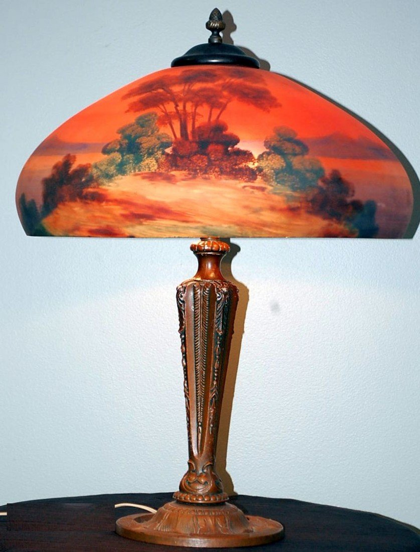 029: VINTAGE PITTSBURG REVERSE PAINTED TABLE LAMP