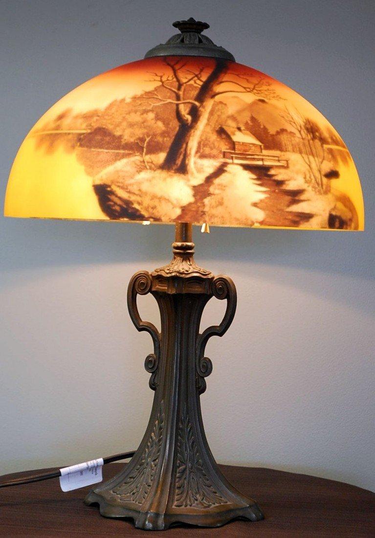 039: VINTAGE PHOENIX REVERSE PAINTED TABLE LAMP