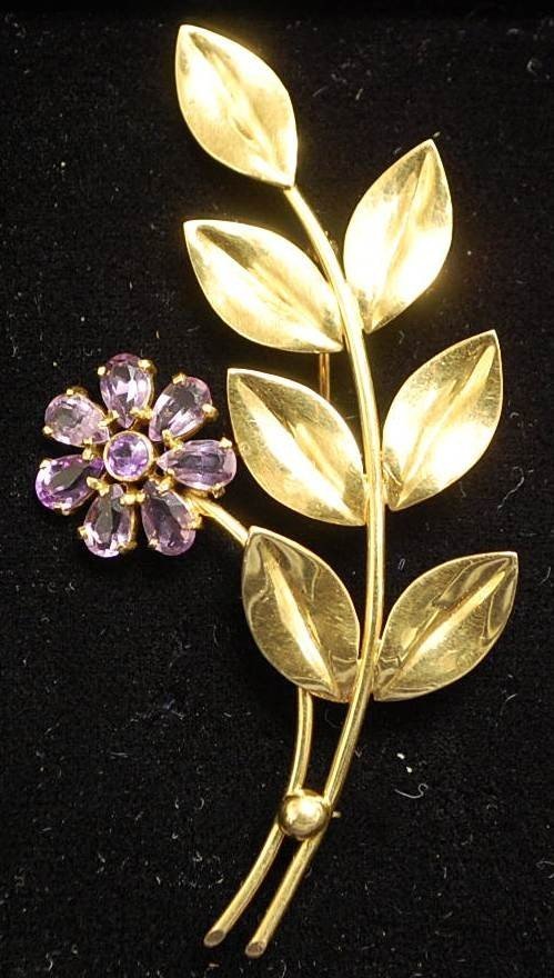 021: TIFFANY 14K GOLD AMETHYST PIN
