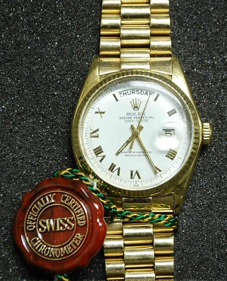 081: ROLEX PRESIDENT 18K GOLD WATCH