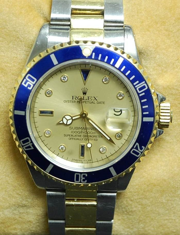 091: ROLEX 18K GOLD & STAINLESS SUBMARINER WATCH