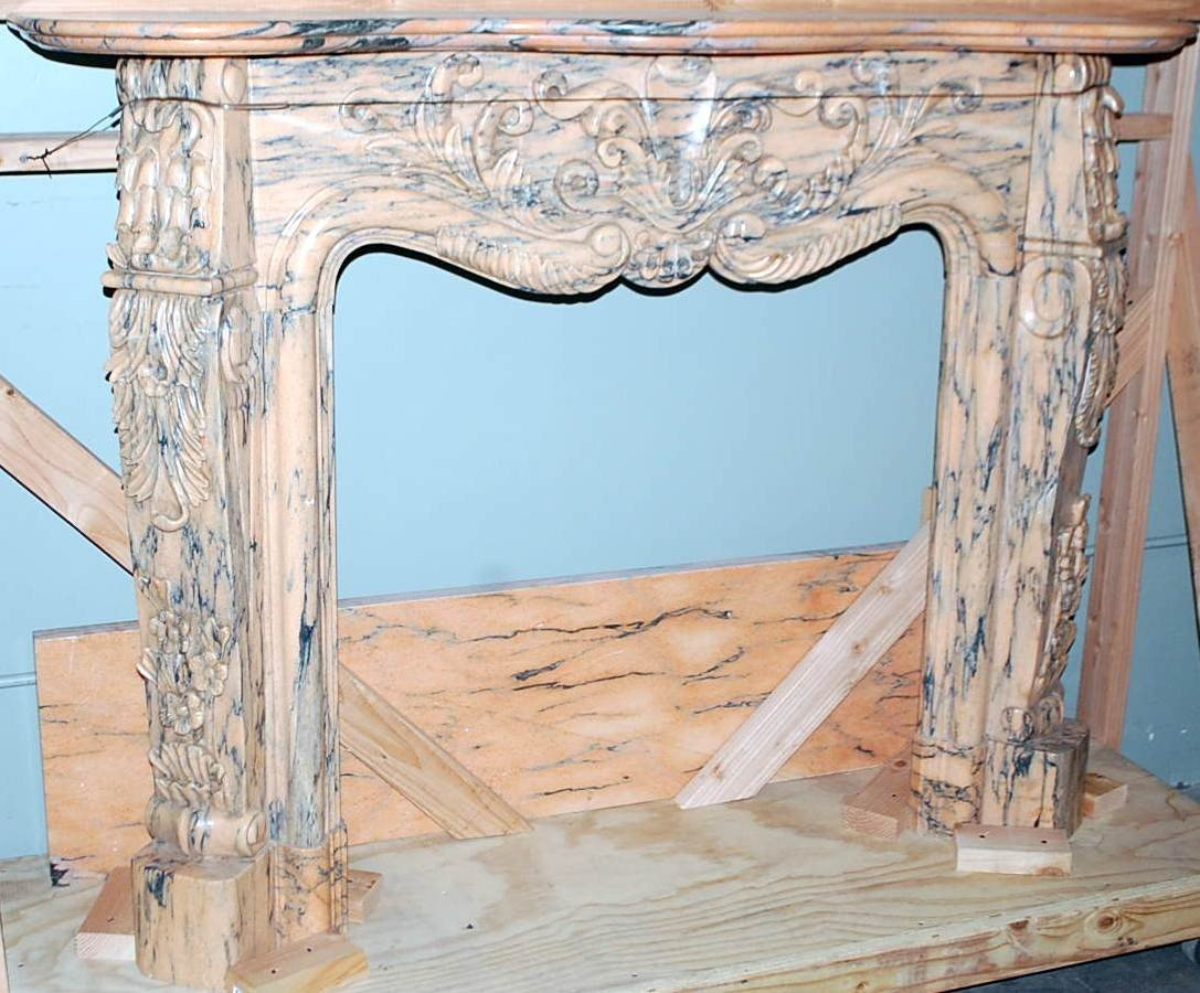 022: FRENCH STYLE CARVED MARBLE MANTEL