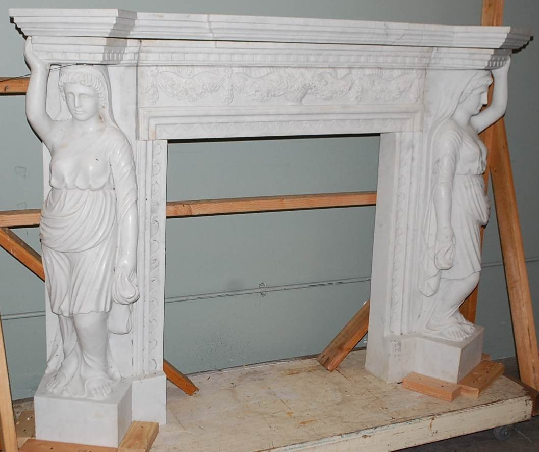 038: CARVED WHITE MARBLE FIGURAL MANTEL
