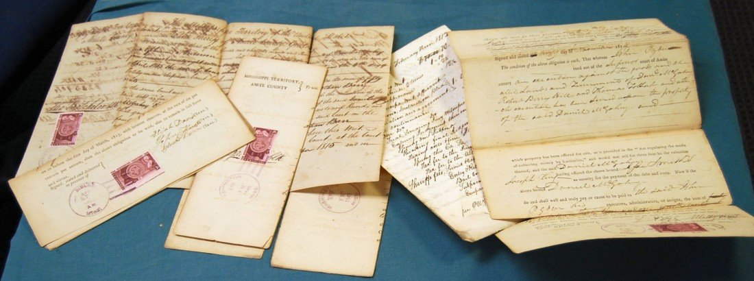 013: LOT OF 6 MISSISSIPPI TERRITORY DOCUMENTS