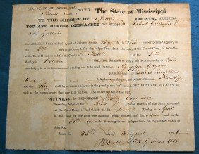 LOT OF 6 MISSISSIPPI SUMMONS & JUDGEMENTS 1830-40'