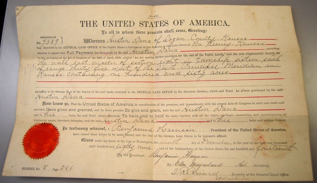 95: 1889 BENJAMIN HARRISON SIGNED LAND DEED