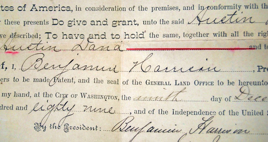 95: 1889 BENJAMIN HARRISON SIGNED LAND DEED - 2