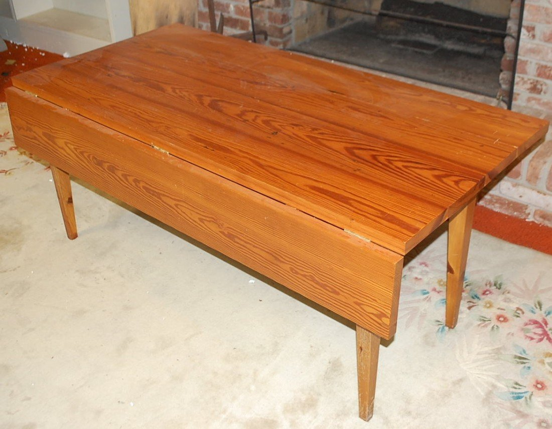 22: HEART PINE DROPLEAF TABLE