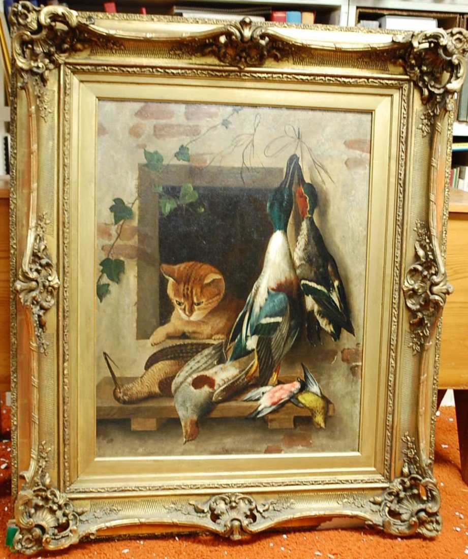 065: ARTIST SIGNED GAME BIRDS & CAT OIL PAINTING