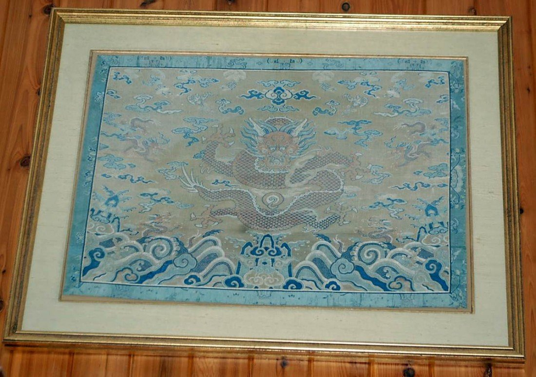 055: LARGE CHINESE SILK FRAMED DRAGON