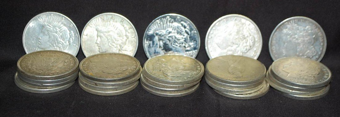 022: GROUP OF 25 MORGAN & PEACE SILVER DOLLARS
