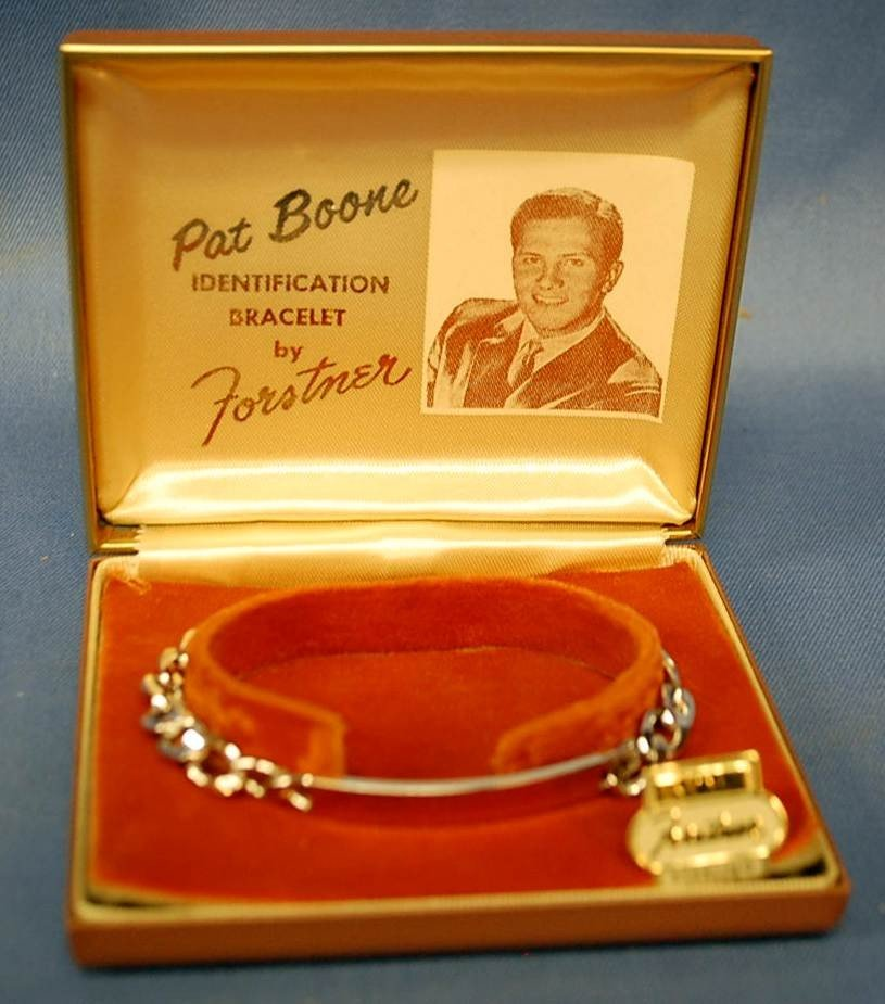 003: PAT BOONE STERLING SILVER ID BRACELET