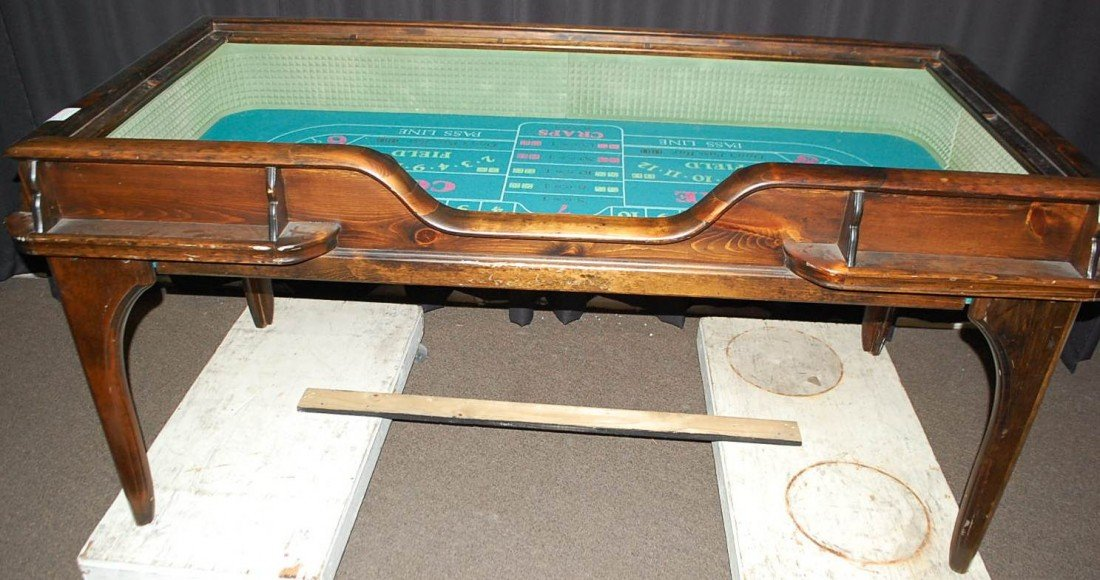023: VINTAGE WOODEN CRAPS TABLE