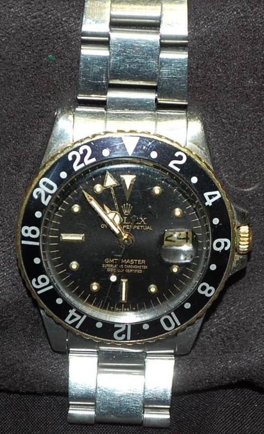 041: VINTAGE ROLEX GMT MASTER 18K GOLD & STAINLESS WATC