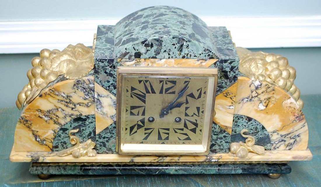 039: FRENCH ART DECO REVEIPOLIS MARBLE CLOCK