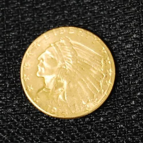 015: 1914 D TWO & HALF DOLLAR GOLD US COIN