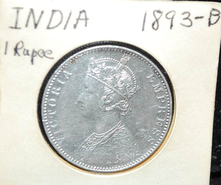 002: 1893-B INDIA ONE RUPEE COIN