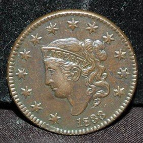 004: US LARGE ONE CENT 1833 COIN