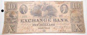 016: TEN DOLLAR EXCHANGE BANK NOTE APRIL 3. 1856