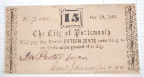 CITY OF PORTSMOUTH FIFTEEN CENT NOTE OCT 29, 1862