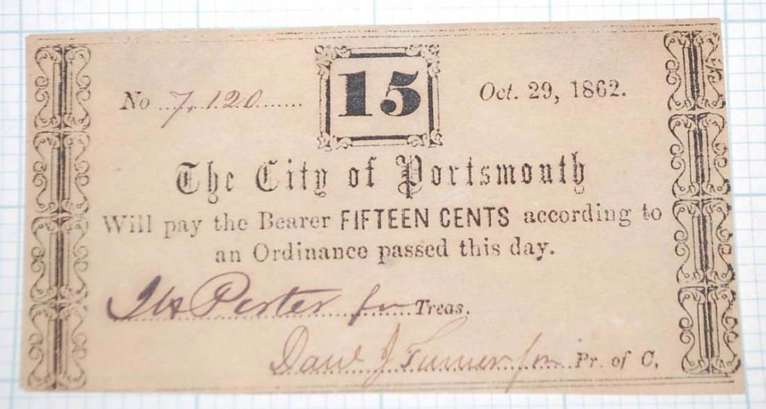 020: CITY OF PORTSMOUTH FIFTEEN CENT NOTE OCT 29, 1862