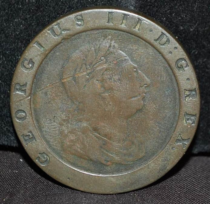 022: BRITANIA GEORGE III 1797  TWO PENNY COIN