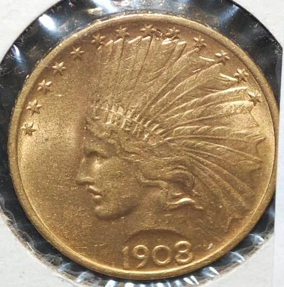 064: US TEN DOLLAR 1908 GOLD COIN