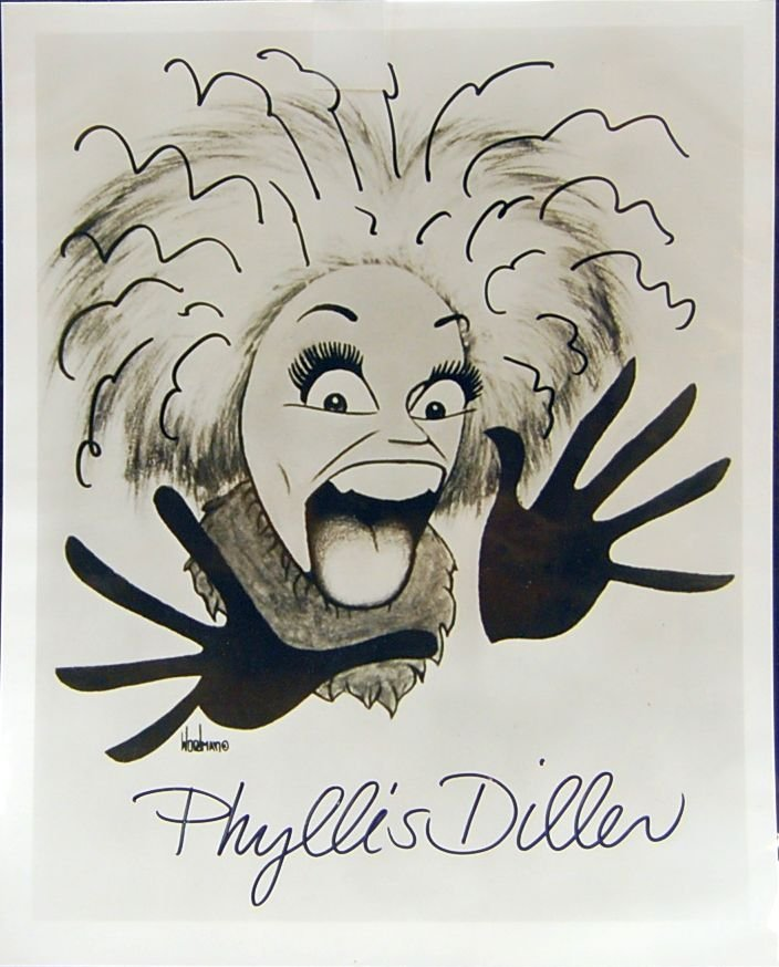 006: AUTOGRAPHED PHYLLIS DILLER CHARACATURE