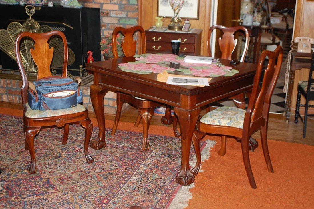 004: CLAWFOOT MAHOGANY ENGLISH DRAW LEAF TABLE