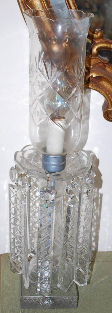 011: PAIR OF CUT CRYSTAL LUSTRE LAMPS