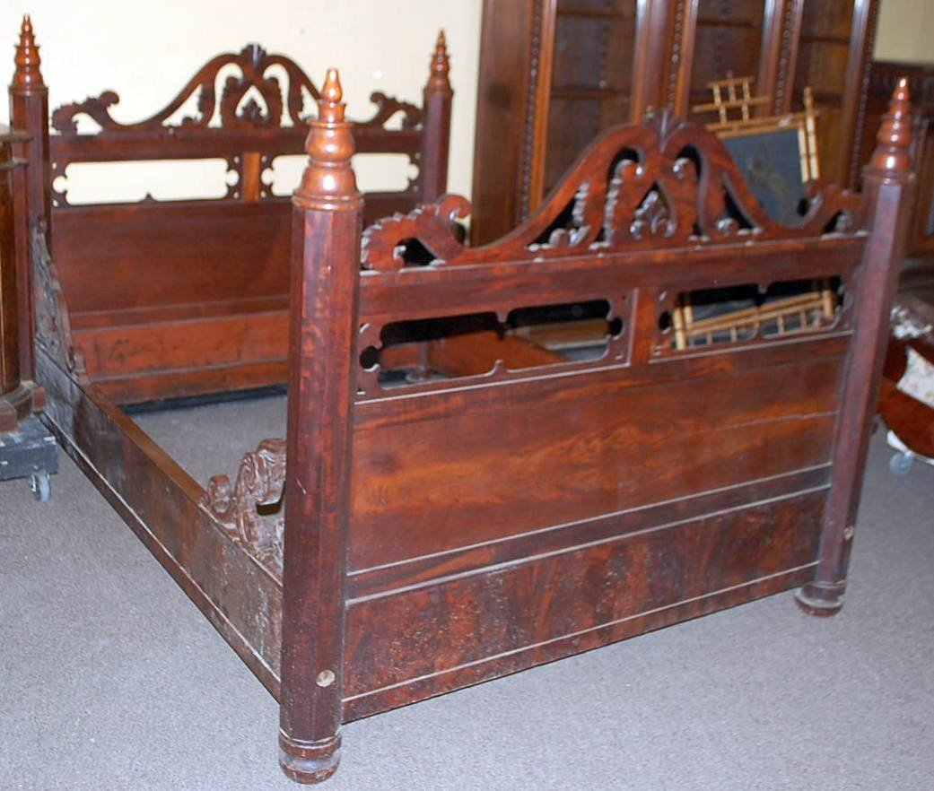 012: EARLY VICTORIAN PIERCED CARVED BED
