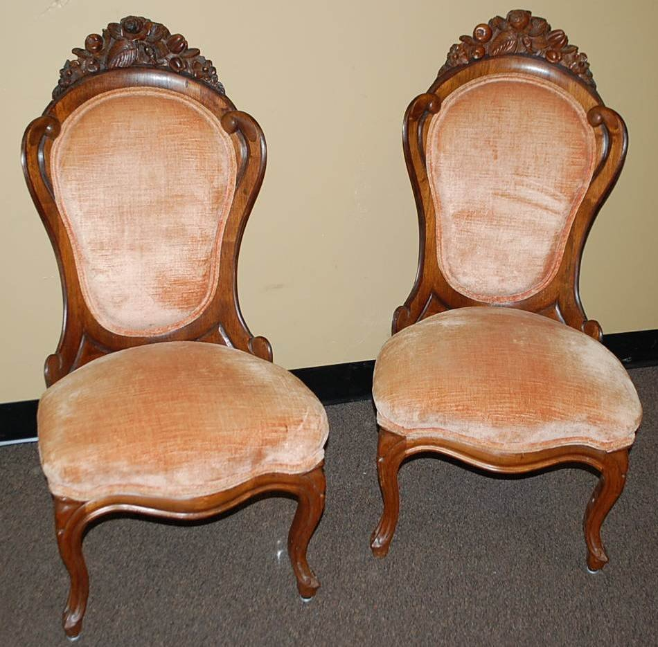 020: PAIR OF LAMINATED ROSEWOOD PARLOR CHAIRS