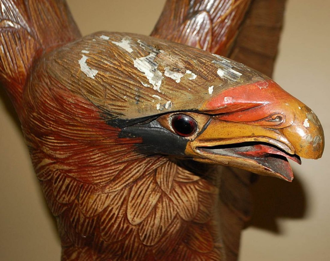 042: HAND CARED WOODEN EAGLE - 3