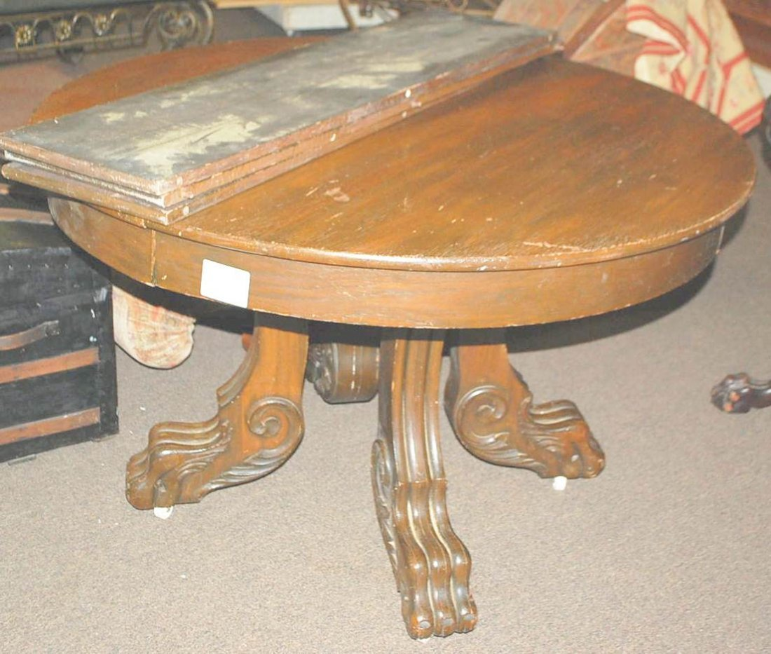 Round oak large claw foot dining table