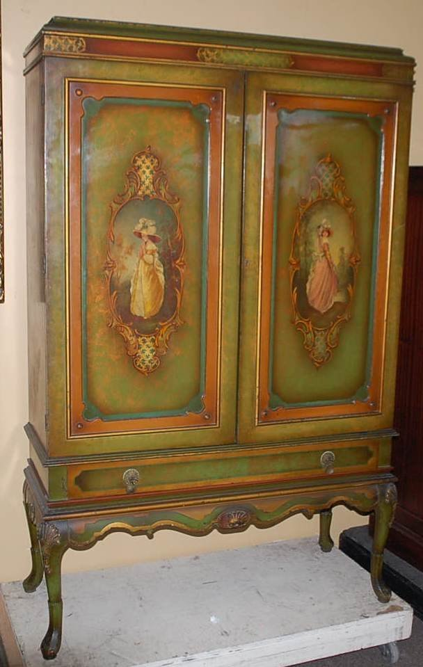 114: HAND PAINTED WINE CABINET