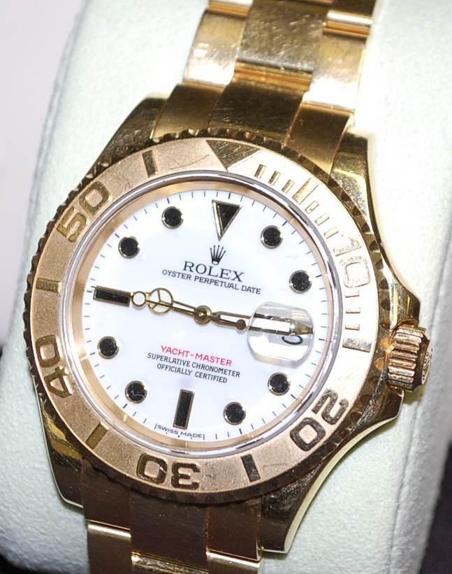 081: ROLEX 18 K GOLD YACHTMASTER WATCH