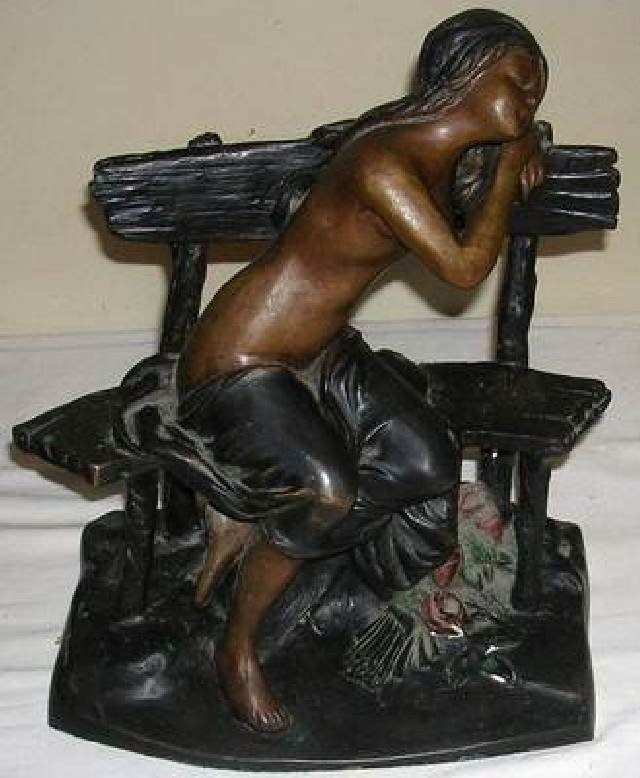 017: VINTAGE BRONZE OF NUDE ON BENCH SIGNED GILBERT