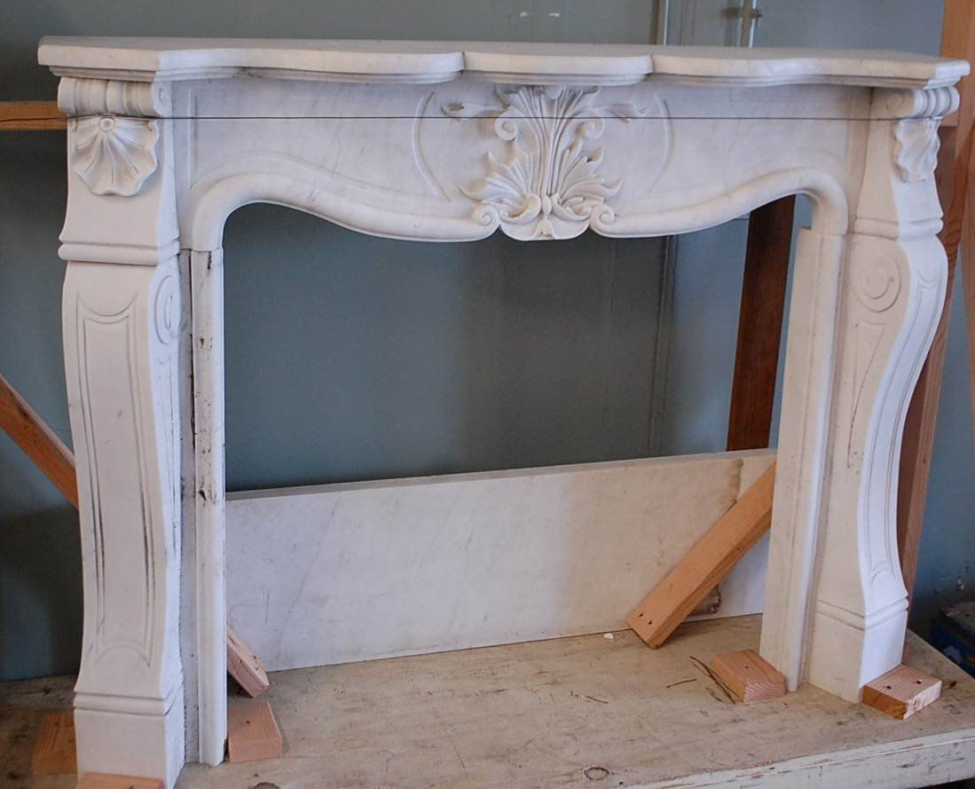 120: SHELL & SCROLL MARBLE MANTLE
