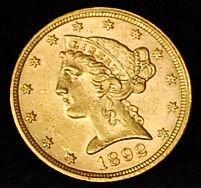005: 1892 US Gold 5 D Coin