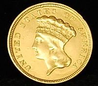 015: 1854 US Gold Coin $3