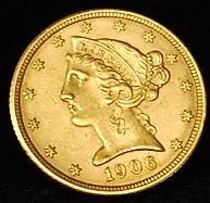 025: 1906-D US Gold Coin $5